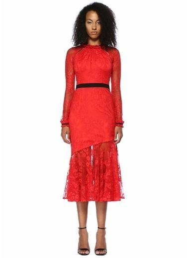 Floor Dantelli Şeritli Midi Kokteyl Elbise Kırmızı